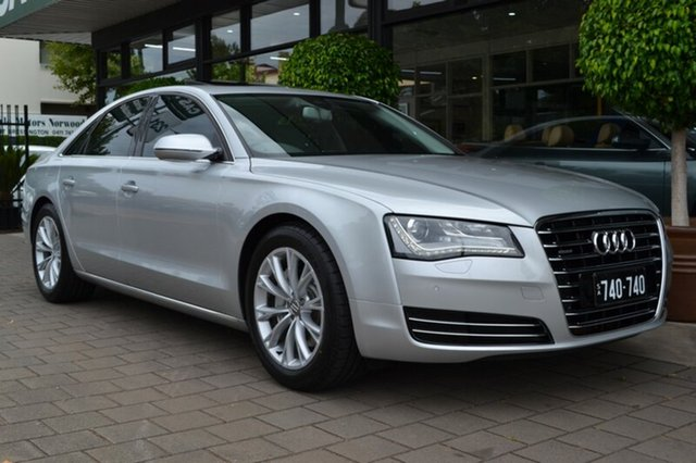 Used Audi A8 4H Tiptronic Quattro, 2011 Audi A8 4H Tiptronic Quattro Silver Metallic 8 Speed Sports Automatic Sedan
