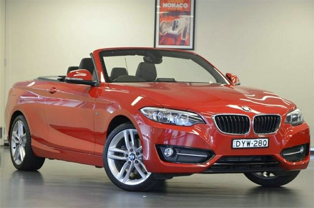 Used BMW 220i F23 Sport Line, 2015 BMW 220i F23 Sport Line Melbourne Red 8 Speed Sports Automatic Convertible