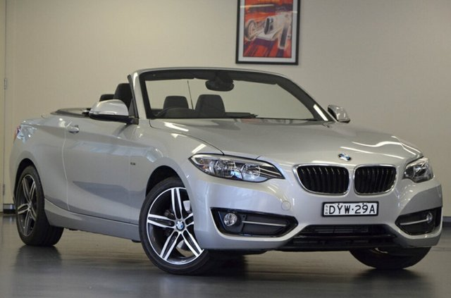 Used BMW 220i F23 Sport Line, 2015 BMW 220i F23 Sport Line Glacier Silver 8 Speed Sports Automatic Convertible