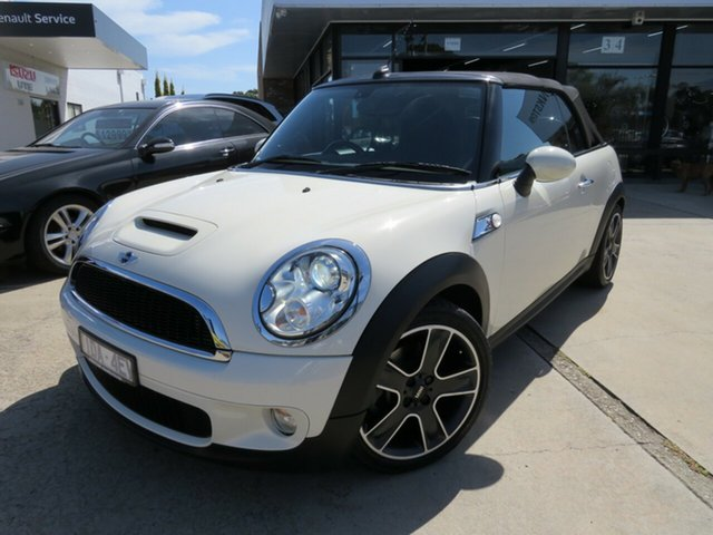 Used Mini Cooper R57 S Cabrio, 2009 Mini Cooper R57 S Cabrio Pepper White 6 Speed Automatic Convertible