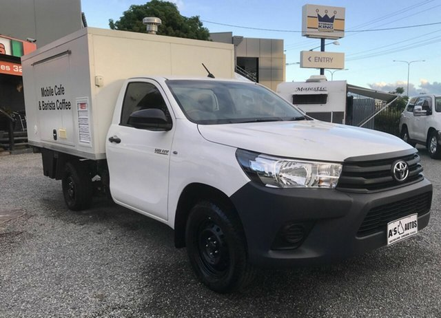 Used Toyota Hilux TGN121R MY17 Workmate, 2017 Toyota Hilux TGN121R MY17 Workmate White 5 Speed Manual Cab Chassis