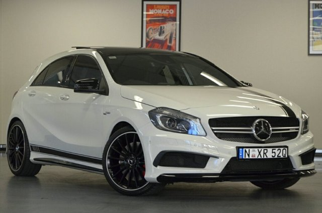 Used Mercedes-Benz A-Class W176 805+055MY A45 AMG SPEEDSHIFT DCT 4MATIC, 2015 Mercedes-Benz A-Class W176 805+055MY A45 AMG SPEEDSHIFT DCT 4MATIC White 7 Speed