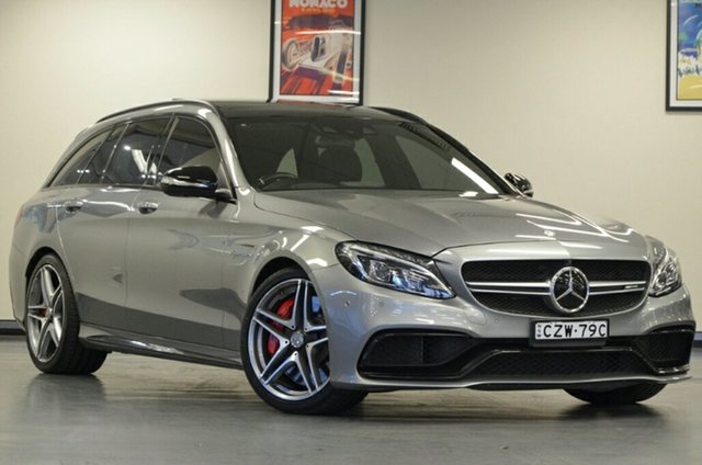 Used Mercedes-Benz C-Class S205 806MY C63 AMG Estate SPEEDSHIFT MCT S, 2015 Mercedes-Benz C-Class S205 806MY C63 AMG Estate SPEEDSHIFT MCT S Palladium Silver 7 Speed