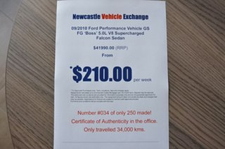 2010 Ford Performance Vehicles GS FG Boss 315 Red 6 Speed Sports Automatic Sedan