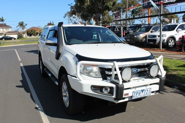 Used Ford Ranger PX XLT 3.2 (4x4), 2013 Ford Ranger PX XLT 3.2 (4x4) White 6 Speed Manual Dual Cab Utility