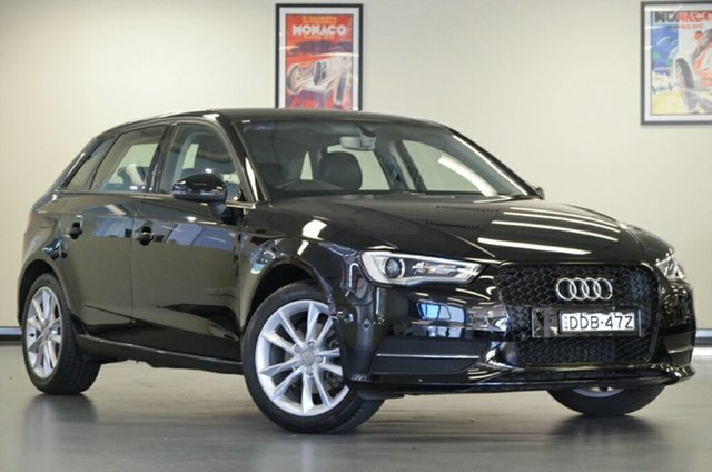 Used Audi A3 8V MY15 Attraction Sportback S Tronic, 2015 Audi A3 8V MY15 Attraction Sportback S Tronic Black 7 Speed Sports Automatic Dual Clutch