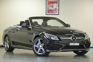 2016 Mercedes-Benz C-Class A205 C200 9G-Tronic Black 9 Speed Sports Automatic Cabriolet.