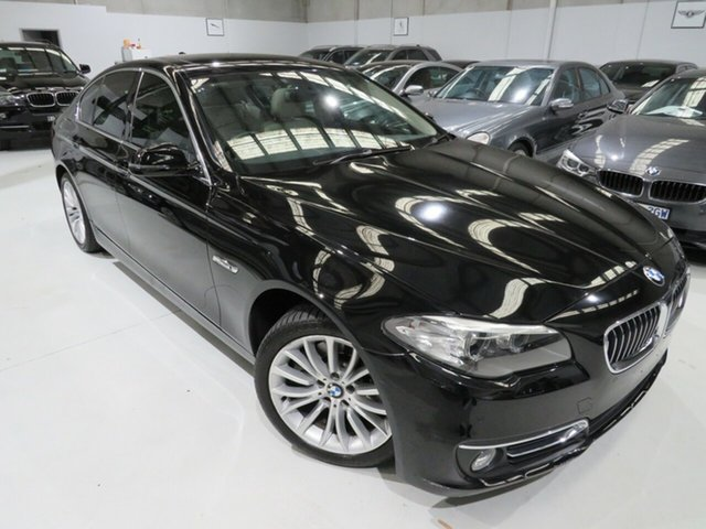Used BMW 520d F10 LCI Luxury Line Steptronic, 2014 BMW 520d F10 LCI Luxury Line Steptronic Black Crystal 8 Speed Sports Automatic Sedan