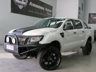 2013 Ford Ranger PX XL Double Cab White 6 Speed Manual Cab Chassis.