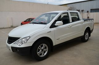 2010 Ssangyong Actyon Sports Q100 MY08 White 5 Speed Manual Double Cab Utility.