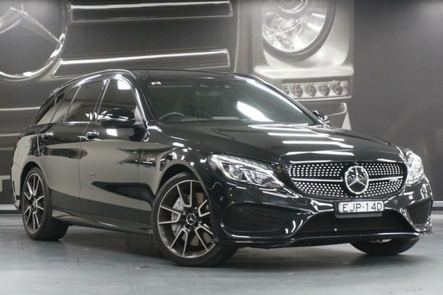 Used Mercedes-Benz C-Class S205 807+057MY C43 AMG Estate 9G-Tronic 4MATIC, 2017 Mercedes-Benz C-Class S205 807+057MY C43 AMG Estate 9G-Tronic 4MATIC Black 9 Speed