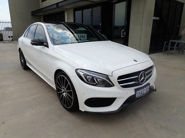 Used Mercedes-Benz C200 205 MY17.5 Wangara, 2017 Mercedes-Benz C200 205 MY17.5 White & Black 9 Speed Automatic G-Tronic Sedan