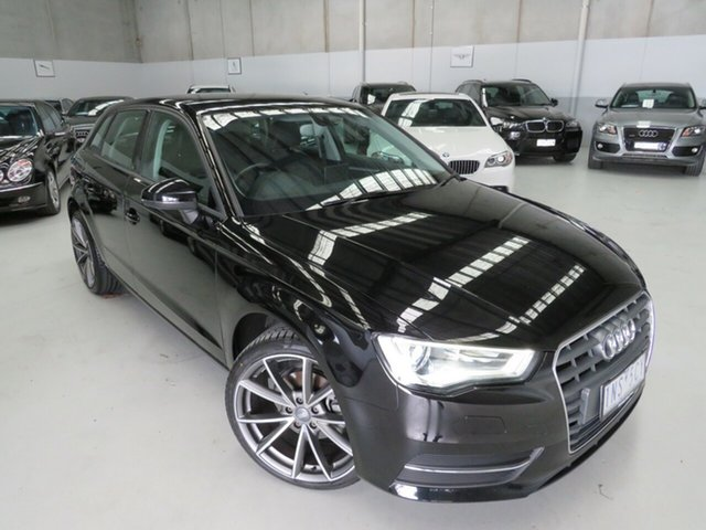Used Audi A3 8P MY13 Attraction Sportback S Tronic Seaford, 2013 Audi A3 8P MY13 Attraction Sportback S Tronic Black 7 Speed Sports Automatic Dual Clutch