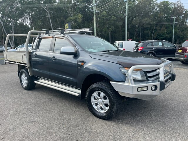 Used Ford Ranger PX Coffs Harbour, 2013 Ford Ranger PX XL 4X4 3.2 T/D DUAL CAB Grey 6 Speed Manual Trayback
