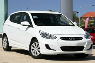 2015 Hyundai Accent RB2 MY15 Active Crystal White 4 Speed Automatic Hatchback.