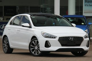 2017 Hyundai i30 PD MY18 Premium D-CT Polar White 7 Speed Sports Automatic Dual Clutch Hatchback.