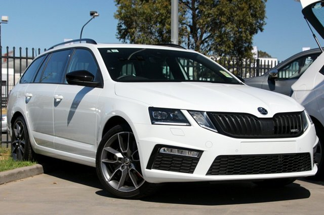New Skoda Octavia NE MY19 RS DSG 180TSI, 2018 Skoda Octavia NE MY19 RS DSG 180TSI Moon White 7 Speed Sports Automatic Dual Clutch Wagon
