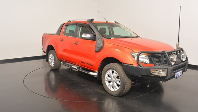 Used Ford Ranger PX Wildtrak Double Cab, 2012 Ford Ranger PX Wildtrak Double Cab Orange 6 Speed Sports Automatic Utility