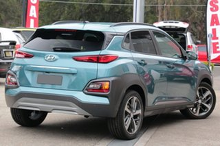 2017 Hyundai Kona OS MY18 Highlander 2WD Blue Lagoon & Black Roof 6 Speed Sports Automatic Wagon.