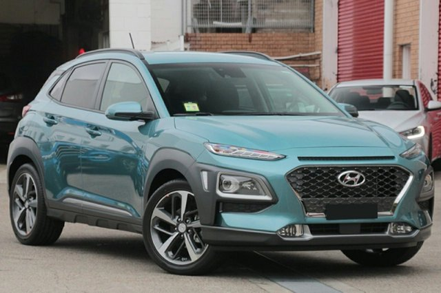 Demo Hyundai Kona OS MY18 Highlander 2WD Albion, 2017 Hyundai Kona OS MY18 Highlander 2WD Blue Lagoon & Black Roof 6 Speed Sports Automatic Wagon