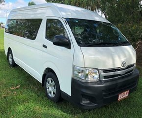 2013 Toyota Hiace KDH223R MY12 Commuter High Roof Super LWB White 5 Speed Manual Bus.