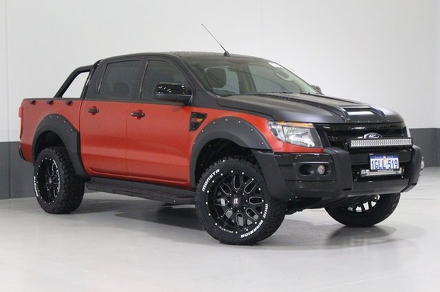 Used Ford Ranger PX XL 2.2 (4x4), 2012 Ford Ranger PX XL 2.2 (4x4) Red & Black 6 Speed Manual Crew Cab Utility