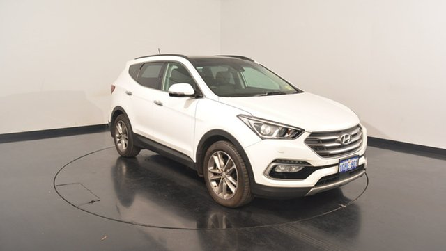 Used Hyundai Santa Fe DM3 MY17 Highlander, 2016 Hyundai Santa Fe DM3 MY17 Highlander Crystal White Pearl 6 Speed Sports Automatic Wagon
