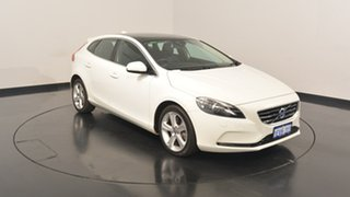 2014 Volvo V40 M Series MY15 D4 Adap Geartronic Luxury White 8 Speed Sports Automatic Hatchback.