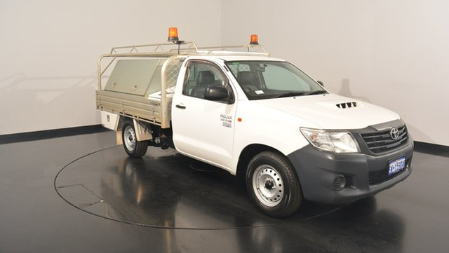 Used Toyota Hilux KUN16R MY14 Workmate, 2014 Toyota Hilux KUN16R MY14 Workmate White 5 Speed Manual Cab Chassis