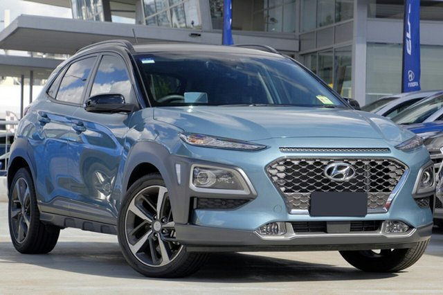 New Hyundai Kona OS.3 MY20 Highlander TTR (FWD), 2020 Hyundai Kona OS.3 MY20 Highlander TTR (FWD) Ceramic Blue & Black Roof 6 Speed Automatic Wagon