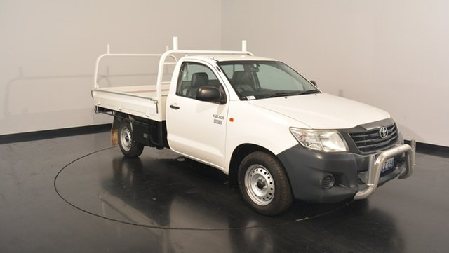 Used Toyota Hilux TGN16R MY14 Workmate, 2014 Toyota Hilux TGN16R MY14 Workmate White 5 Speed Manual Cab Chassis