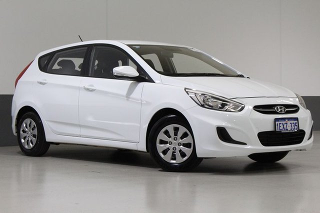 Used Hyundai Accent RB3 MY16 Active, 2015 Hyundai Accent RB3 MY16 Active White 6 Speed CVT Auto Sequential Hatchback