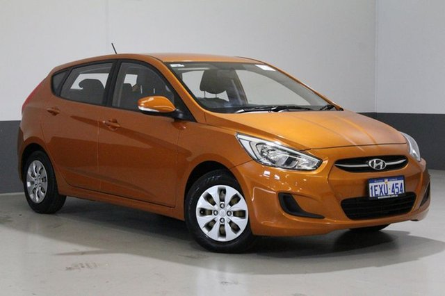 Used Hyundai Accent RB3 MY16 Active, 2015 Hyundai Accent RB3 MY16 Active Orange 6 Speed CVT Auto Sequential Hatchback