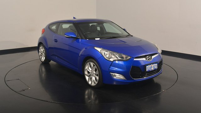 Used Hyundai Veloster FS Coupe, 2012 Hyundai Veloster FS Coupe Blue 6 Speed Manual Hatchback