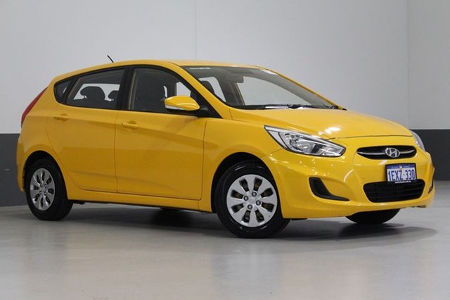 Used Hyundai Accent RB3 MY16 Active, 2015 Hyundai Accent RB3 MY16 Active Yellow 6 Speed CVT Auto Sequential Hatchback
