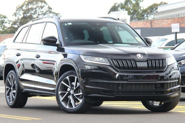 New Skoda Kodiaq NS MY21 132TSI DSG Sportline Hobart, 2021 Skoda Kodiaq NS MY21 132TSI DSG Sportline Black Magic 7 Speed Sports Automatic Dual Clutch