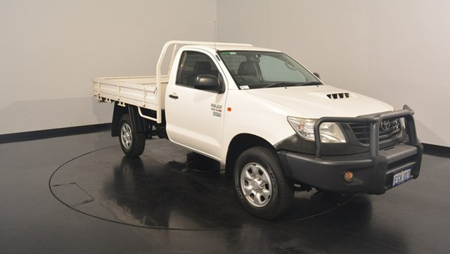 Used Toyota Hilux KUN26R MY12 Workmate, 2013 Toyota Hilux KUN26R MY12 Workmate White 5 Speed Manual Cab Chassis