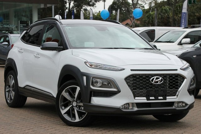 New Hyundai Kona OS.3 MY20 Highlander TTR (AWD), 2020 Hyundai Kona OS.3 MY20 Highlander TTR (AWD) Chalk White & Black Roof 7 Speed Auto Dual Clutch