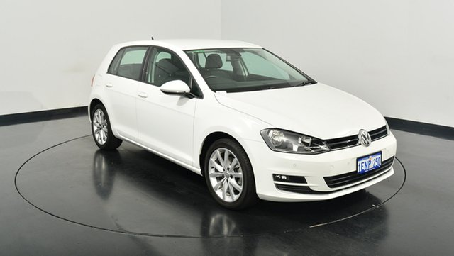 Used Volkswagen Golf VII MY14 103TSI DSG Highline, 2014 Volkswagen Golf VII MY14 103TSI DSG Highline Pure White 7 Speed Sports Automatic Dual Clutch