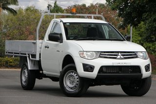 2013 Mitsubishi Triton MN MY14 GLX White 4 Speed Sports Automatic Cab Chassis.
