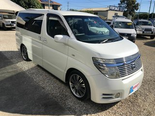 2004 Nissan Elgrand E51 Highway Star White 5 Speed Automatic Wagon.