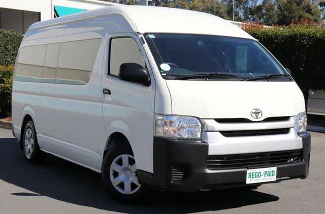 Used Toyota Hiace TRH223R MY14 Commuter High Roof Super LWB, 2014 Toyota Hiace TRH223R MY14 Commuter High Roof Super LWB White 4 Speed Automatic Bus