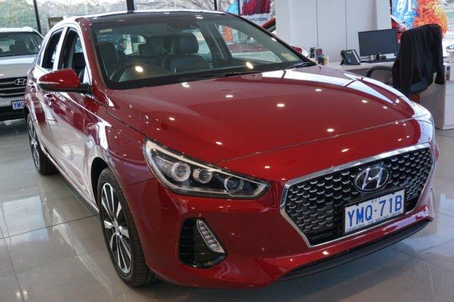 Demo Hyundai i30 PD MY18 Premium D-CT, 2017 Hyundai i30 PD MY18 Premium D-CT Fiery Red 7 Speed Sports Automatic Dual Clutch Hatchback