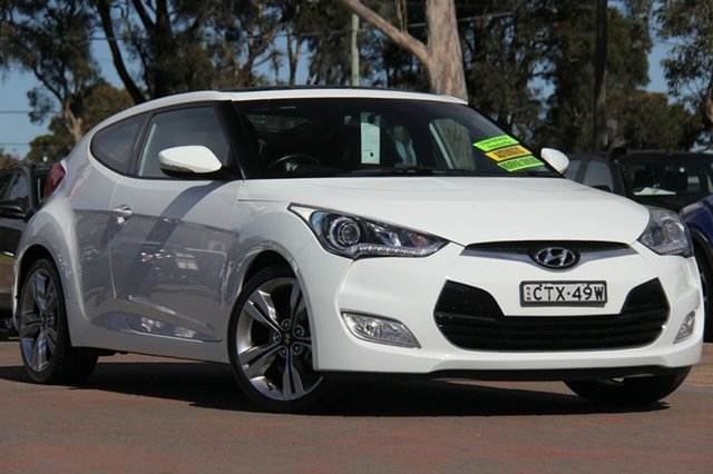 Used Hyundai Veloster FS3 + Coupe D-CT, 2014 Hyundai Veloster FS3 + Coupe D-CT White 6 Speed Sports Automatic Dual Clutch Hatchback