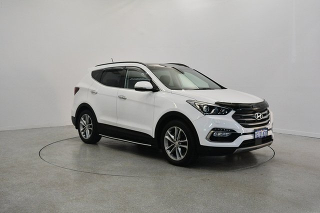 Used Hyundai Santa Fe DM3 MY17 Highlander, 2017 Hyundai Santa Fe DM3 MY17 Highlander Pure White 6 Speed Sports Automatic Wagon