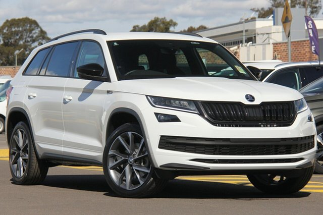 New Skoda Kodiaq NS MY19 132TSI DSG Sportline, 2019 Skoda Kodiaq NS MY19 132TSI DSG Sportline Moon White 7 Speed Sports Automatic Dual Clutch Wagon