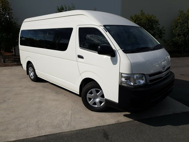 Used Toyota Hiace KDH223R MY12 Commuter High Roof Super LWB, 2012 Toyota Hiace KDH223R MY12 Commuter High Roof Super LWB White 4 Speed Automatic Bus