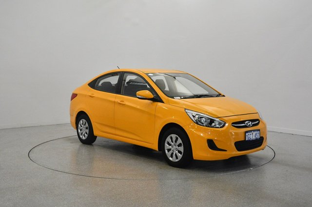 Used Hyundai Accent RB3 MY16 Active, 2016 Hyundai Accent RB3 MY16 Active Yellow 6 Speed Constant Variable Sedan
