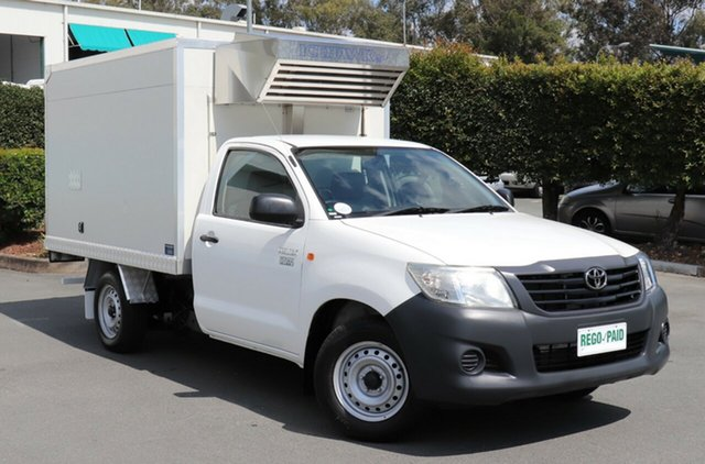 Used Toyota Hilux TGN16R MY12 Workmate 4x2, 2012 Toyota Hilux TGN16R MY12 Workmate 4x2 White 5 Speed Manual Cab Chassis