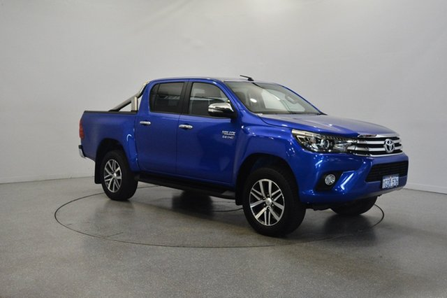 Used Toyota Hilux GUN126R SR5 Double Cab, 2015 Toyota Hilux GUN126R SR5 Double Cab Blue 6 Speed Manual Utility